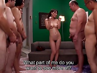 JAV milf Kaho Kasumi striptease for group of men Subtitled