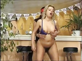 Hairy blonde forsome and DP