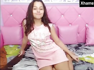 Barely Legal Teen in Pink Dress Masturbating Her Young Pussy