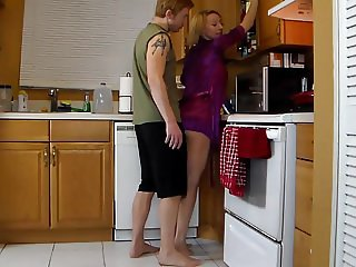 Mature stepmom fucked in the kitchen