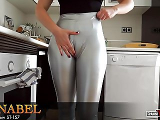 Girl with huge cameltoe relaxes after cleaning