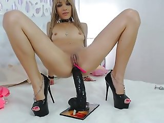 Hot & Sexy Blonde with Huge Black Dildo in her Ass on Cam