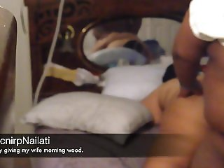 Quietly giving my wife morning wood.