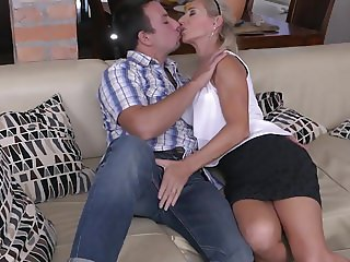 Beautiful mature MILF fucks lucky son