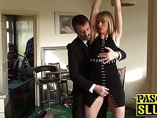Face fucked milf BDSM sex slave swallows his warm cock juice