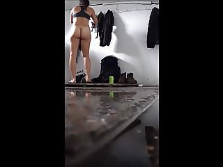 Plump ass, changing for a swim, spy cam