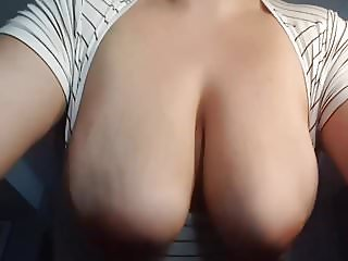 Wifes gorgeous big natural tits bouncing