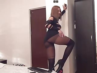 Russian MILF slut in overknee and short skirt