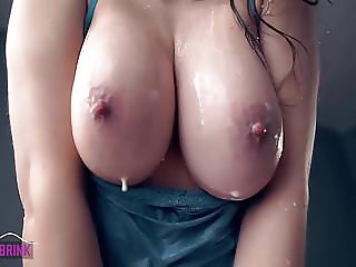 Boobs Jiggling and Shaking, Playing with Milk in Slowmotion!
