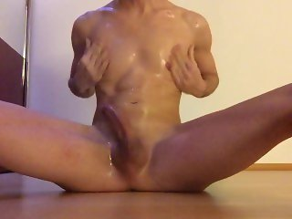Hot boy slippery masturbation with oil and intense cumshot