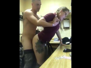Norwegian slut wife gets fucked in office while closing and swallows load