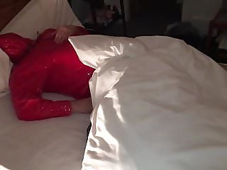 BBW Mistress Lydia's Slave Lying In PVC Mac Hood Over Face