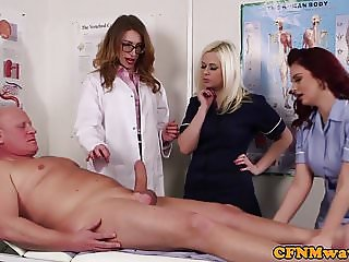 CFNM doctor babe teaches nurses how to suck