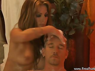 Stunning Massage Blonde Relaxes Him