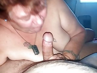 Mature Grandma sucking younger