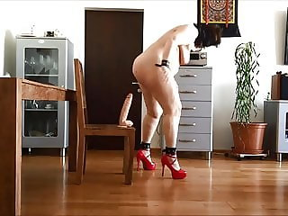 Anal fuck with monster dildo and pee show