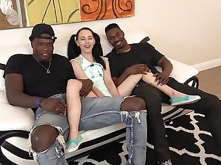 Tiny Teen Destroyed by Two Giant Black Dudes