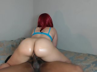 Big booty red head rides hard cock until tight pussy get's pussy filled!