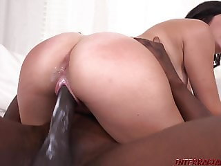 New girl Natalie Brooks rides big black cock