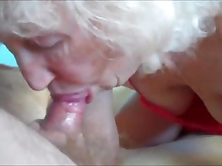 Shameless blonde granny blowjobs and swallow cum