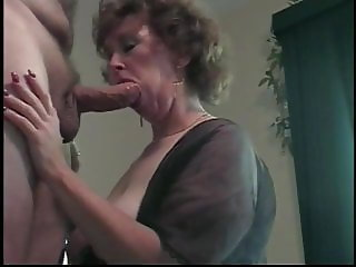 Cougar wife on her knees blowjob