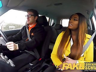 Fake Driving School Hot Ebony Jai James with Huge Tits