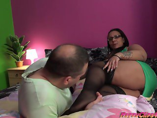 Arab BBW jerks this big cock by her feet, hands, and lips