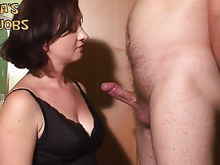 2 cumshots on my tits face and jeans