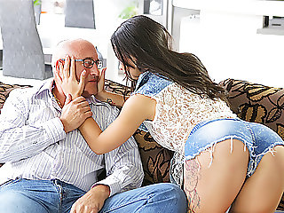 OLD4K. Unsatisfied chick motivated old dad to drill her...