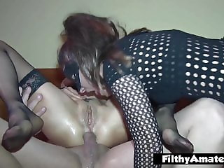 Two depraved wives take cock in the ass secretly in amateur