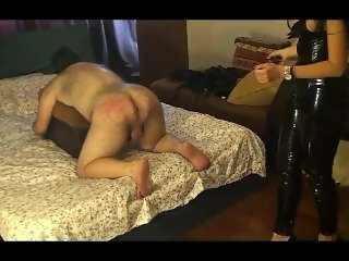 Naught teacher Mistress Antonella whips slave
