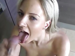 German Blonde Likes Anal Sex in Kitchen And Cum in Mouth