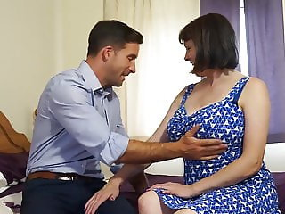 Mature busty natural mom fucks strong boy