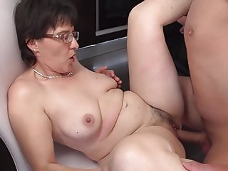 Taboo sex on kitchen with mom and son
