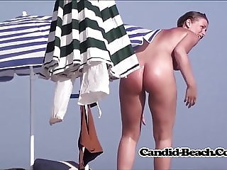 Sun Tanned Hot Naked Females Spied At The Nudist beach