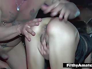 Orgy with 3 married women who love being anal