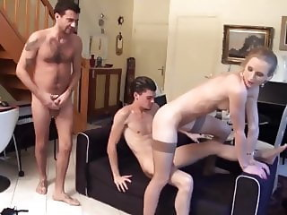 Skinny blond fucks 2 guys watched by old man