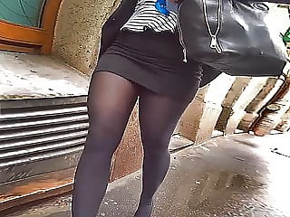 office pantyhose thighs in miniskirt