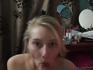 20yr old Jenny swallowing cum out of a big cock