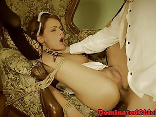 Submissive maid anally hardfucked after bj