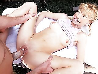 CUM4K CREAMPIE dripping blonde FUCKS to avoid eviction