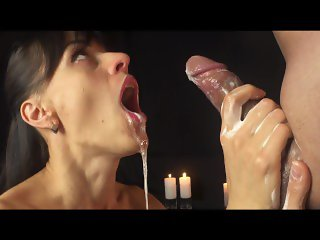 Multiple cumshots,She knows how to do handjob.