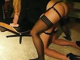 Sexy girl pegs her man