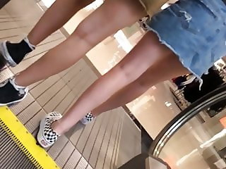 Two Teens Escalator Upskirt