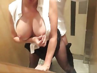 Gorgeous and Busty Secretary Gets Fucked in Elevator