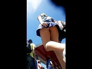 Upskirt short skirt teen