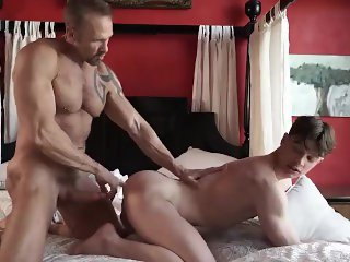 Hairy muscle daddy has intense sex with a hot young jock