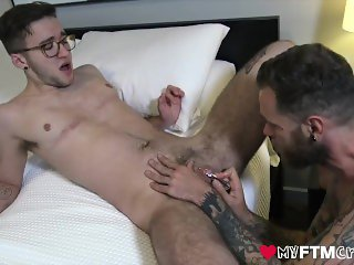 Trans Ftm Ari cums from tall furry hipster's vibrator dildo and cock