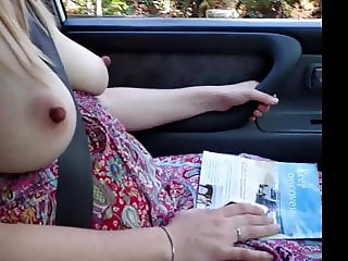 Busty amateur topless driving flashing big boobs