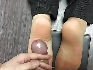 My married co-worker again let me fuck her feet